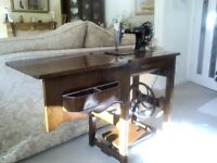 Treadle sewing machine. Beautiful antique CWS Federation sewing machine & french-polished cabinet
