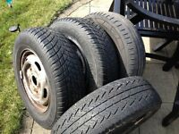3 transit van rims with 4 tyres