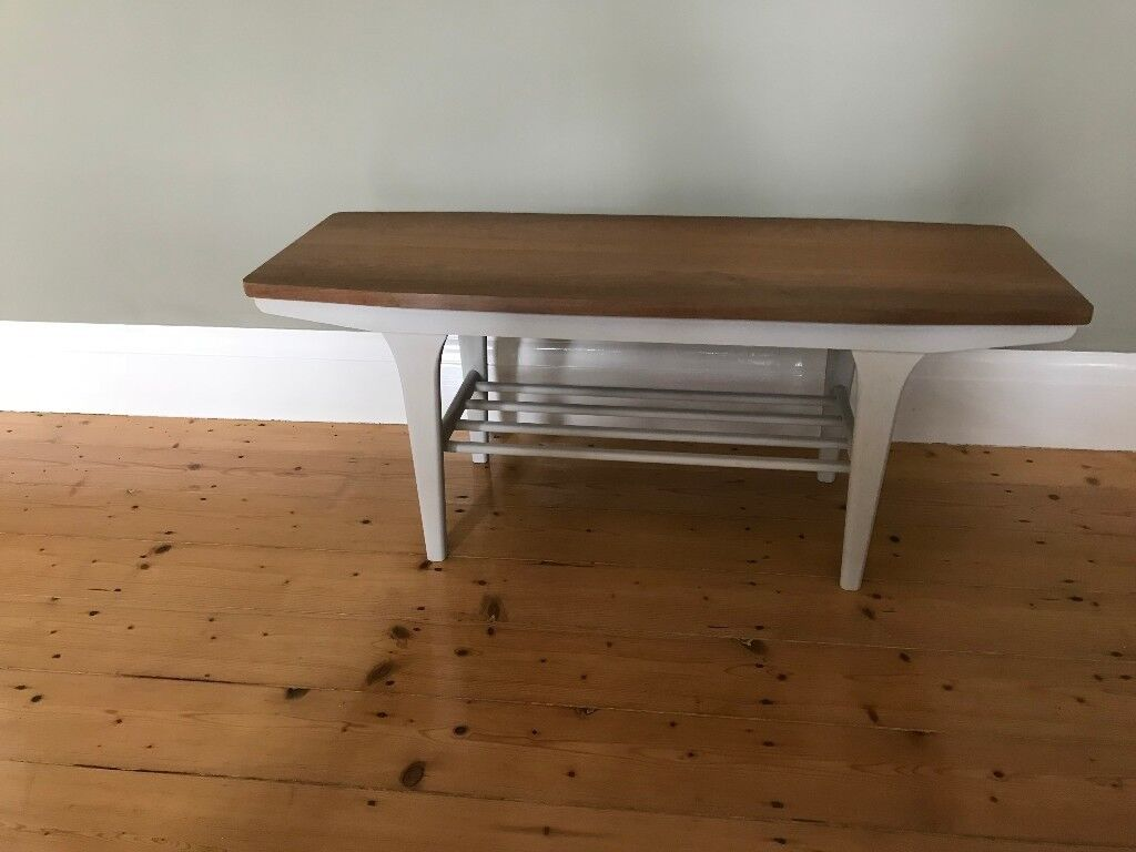 1960 70 S Mid Century Sleigh Coffee Table Retro Vintage Rack Danish