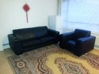 2 + 1 Seater Sofa Suite, Leather, black colour