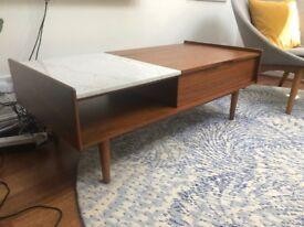 Mid-Century Pop Up Coffee Table, Marble/Walnut