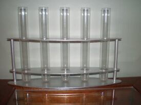 Set of 5 TEST TUBES in CHROME RACK for fresh or dried flowers