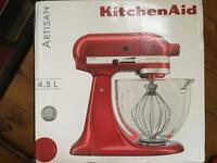 Brand new unopened Kitchenaid Artisan Mixer and extra spiralizer attachment rrp £469