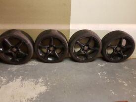 "Vauxhall 18"" 4x black alloy wheels with tyres 225/40 ZR18"