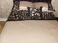 CREAM & BLACK CURTIANS & BEDDING
