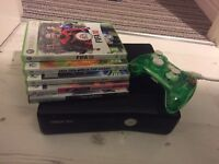 Xbox 360 with games, controller and headset