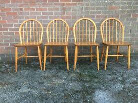 Vintage Ercol Beech & Elm Hoopback Kitchen Dining Chairs Blue Label