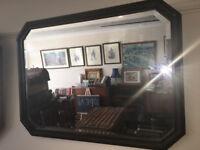 Fine Vintage Arts and Crafts Dark Wood Beaded Framed Octagonal Bevelled Edge Wall Mirror