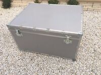 Used Large Silver Metal Storage Chest Trunk with Lock