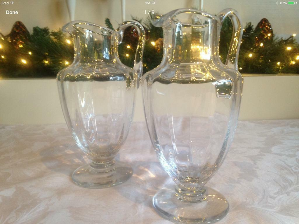 Baccarat Capri Optic Pitcher Carafe Jug Decanter Crystal French Signed