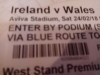 Ireland V Wales Premium level tickets x 4 in a row, Block 323 West Stand, Best Views in stadium