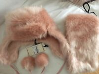 Rose Pink Faux Fur Trapper and Tippet Scarf Set