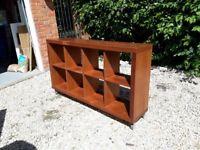 shelving unit, reasonable condition, on removable wheels, walnut veneer