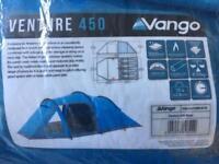 Vango venture 450 4 man tent with sleeping bags & air bed
