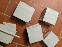 Pale blue bathroom tiles