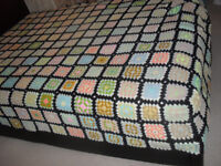 """Vintage fitted hand made crochet blanket / throw 90 x 65"""" = 226 X 166 cm approx."""