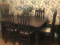 Stunning carved Victorian dining table and 6 chairs