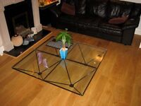 Large square glass coffee table, 12mm toughened glass