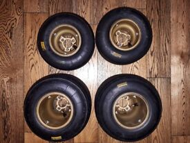 OTK Gold Rims (USED) with used Minimax Mojo Tyres (Tyres still have plenty in them for practice)
