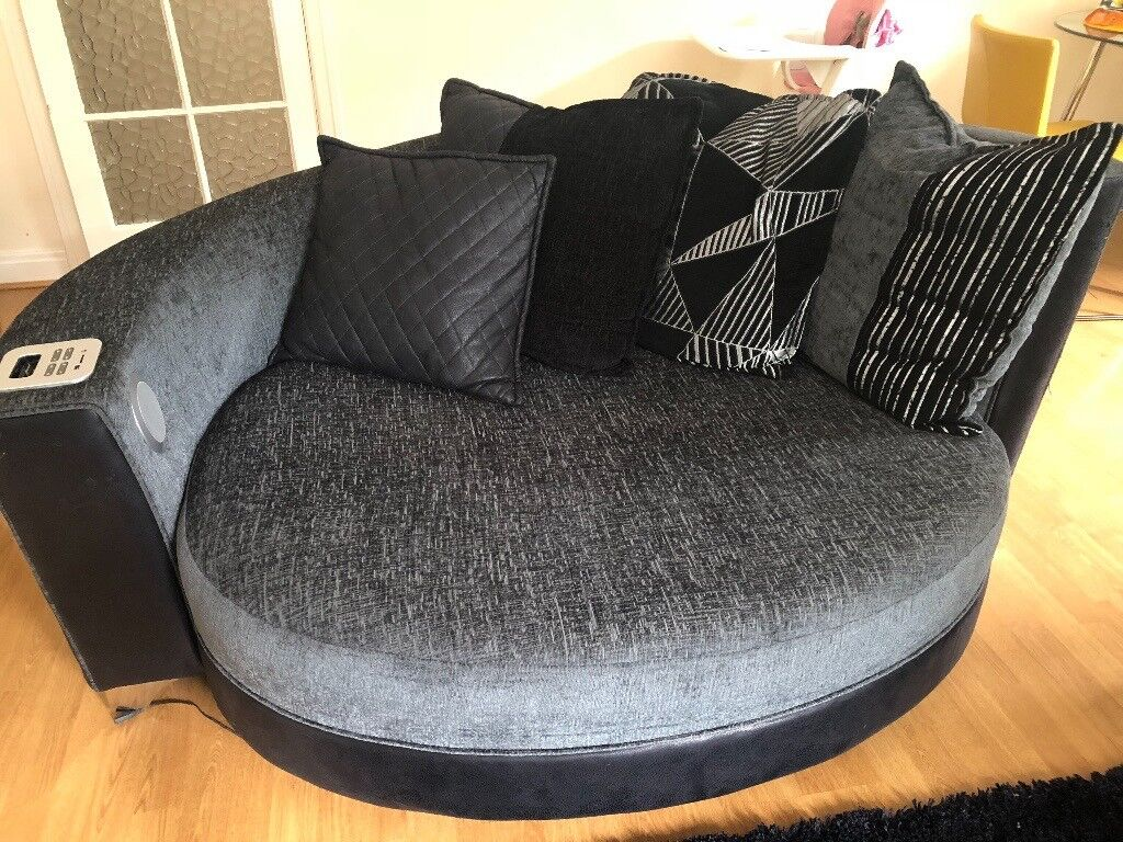 2 Piece Sofa Set In Black Grey And Silver 3 Seater Sofa