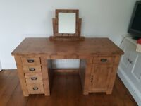 Solid Oak Desk/Dressing Table with Mirror