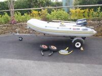 Semi Hard Rib Boat with Outboard Motor and Trailer
