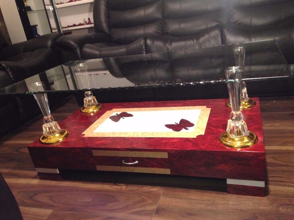 High Gloss Coffee Table with Wooden Base and Clear Glass top, High Quality Dark Red Colour