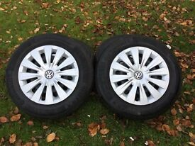 "Volkswagon wheels and tyres 15"" with almost new wheel trims(no kerbing)"