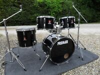 VINTAGE 1982 PREMIER ROYALE 5 DRUM KIT WITH PEDALS AND STANDS