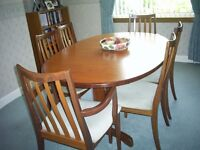 G Plan Dining table 6 chairs ( two carver)