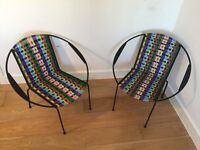 Pair of hoop chairs by Iman Deco, woven 50s style furniture (patio garden) retro