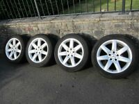 """MERCEDES-BENZ SL CLASS CL CLASS E CLASS 17"""" 7-SPOKE STYLE ALLOY WHEELS WITH CONTINENTAL TYRES."""