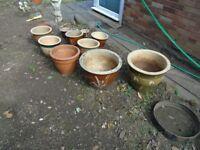 Assorted glazed and earthenware pots