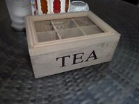 TEA CADDY BOX WITH HINGED GLASS LID