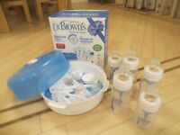 Dr Brown's Newborn set, steriliser and 5 bottles - like new.
