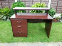 Walnut colour desk with drawers REDUCED