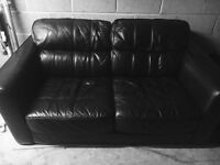 2 seater black real leather sofa