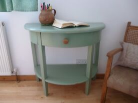 Upcycled Vintage Hallway Console Bedside Table Sage Green