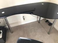 Black Glass Desk & Chair