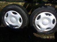 SEAT TYRES, GOOD TREAD WITH SEAT WHEEL CAPS