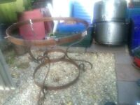 Cast iron outside table with table top At least 4 foot wide perfect for garden quite heavy