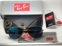 Ray-Ban Aviator Brand New Gold Sunglasses with blue Lenses and Leather Case and all Boxing