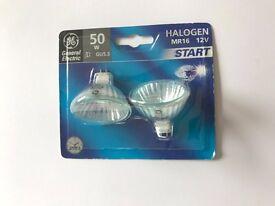 8 Halogen MR 16 bulbs - 4 x 50W START bulbs and 4 x 20W STANDARD bulbs.