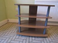 TV Table Four Shelves Light Wood and Grey