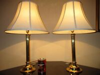 PAIR OF TALL VINTAGE SOLID BRASS TABLE LAMPS WITH VINTAGE SHADES