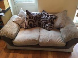 2 seater grey fabric sofa