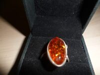925 silver and amber ring.
