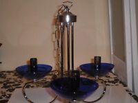 CEILING HANGING LIGHT FITTING. BLUE GLASS BULB HOLDERS
