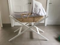 Moses basket with stand - John Lewis white waffle