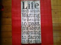 """LARGE SOLID WOODEN """"INSPIRATIONAL QUOTE"""" WALL HANGING"""